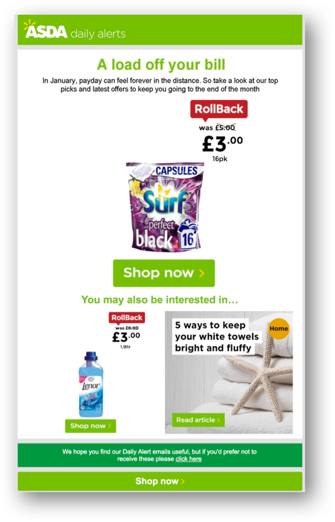 asda personalised email
